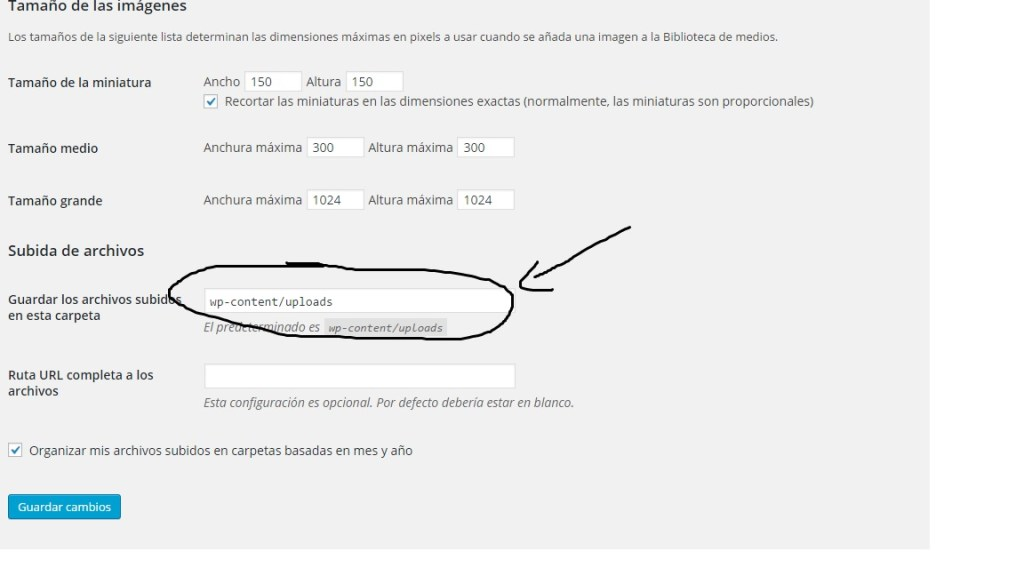 Error WP no se pudo crear el directorio uploads