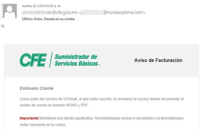 Ignora el correo de la CFE, es un virus
